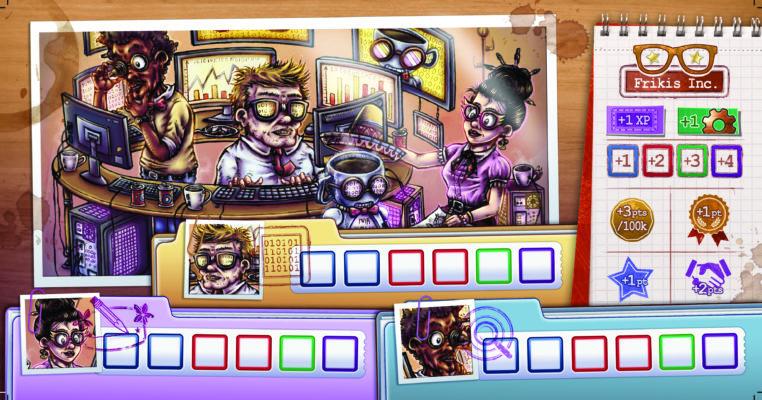 Représentation de la compagnie Frikis Inc. Personnages geek, robot, plusieurs écran d'affichage. Caractéristiques propre à l'entreprise.